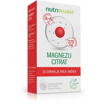 Nutripharm Magnezij citrat, 20 šum. tableta