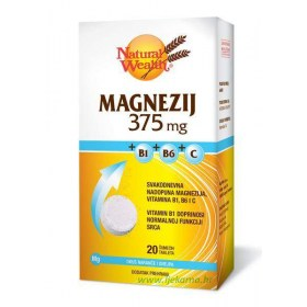 Natural Wealth Magnezij 375mg + B1 + B6 + C, 20 kom.