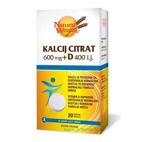 Natural Wealth Kalcij Citrat 600mg + D 400 i.j.