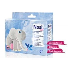 Wears a set of nasal aspirators