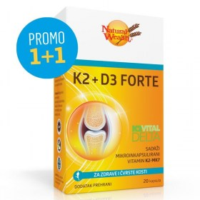 Natural Wealth K2 + D3 Forte 1+1 GRATIS