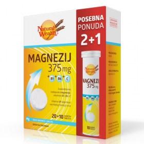 Natural Wealth Magnesium 375mg+B1+B6+C + FREE