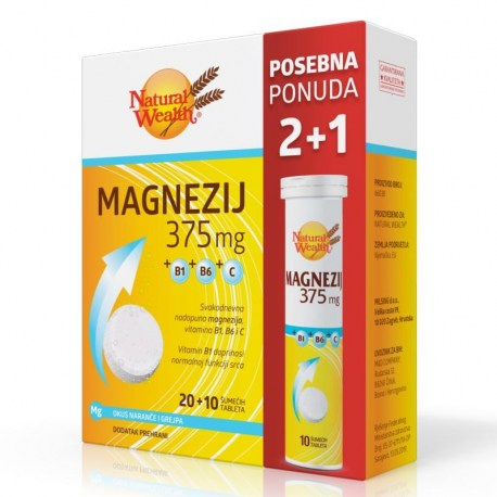 Natural Wealth Magnezij 375mg+B1+B6+C + GRATIS