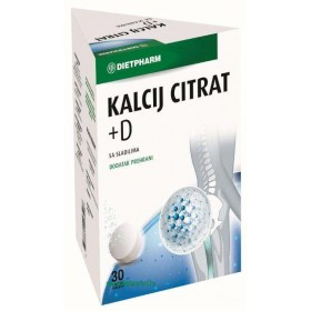 Dietpharm Kalcij citrat + D šumeće tablete, 30 kom.